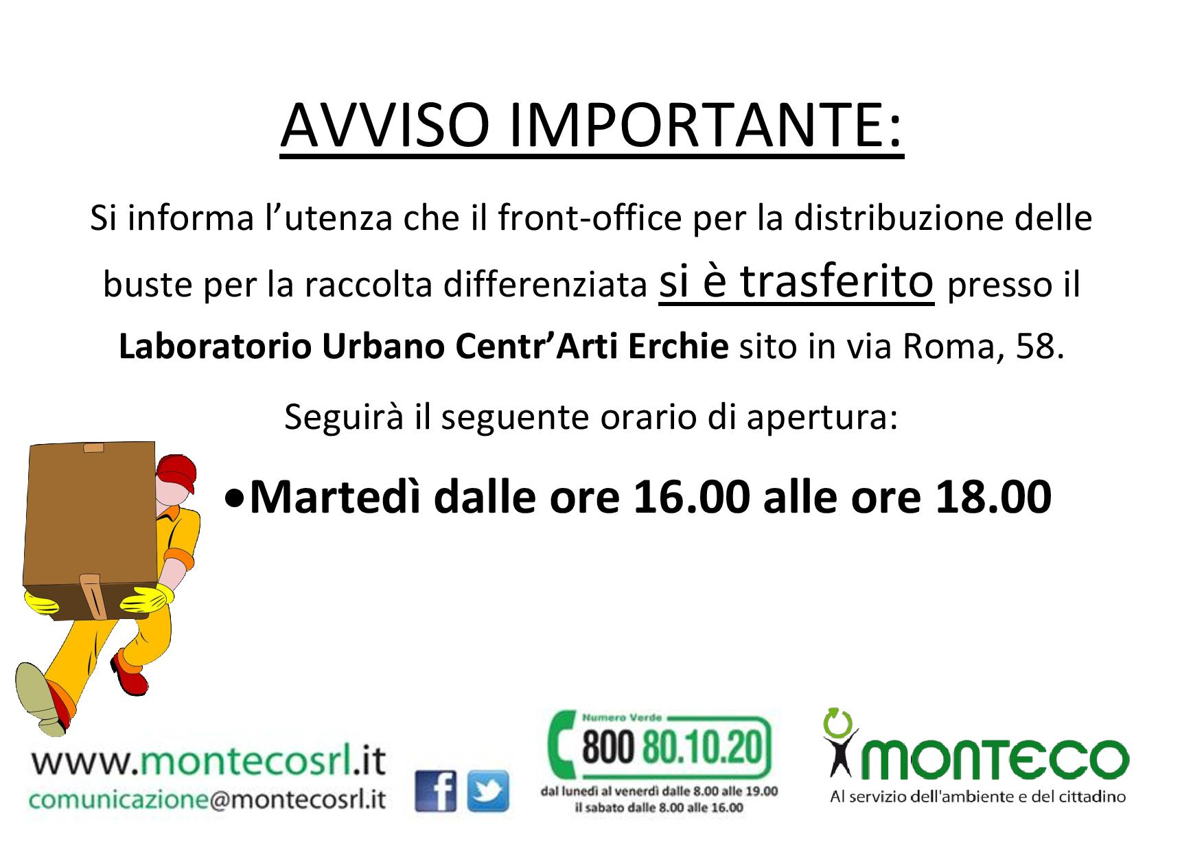 trasferimento Front Office Erchie