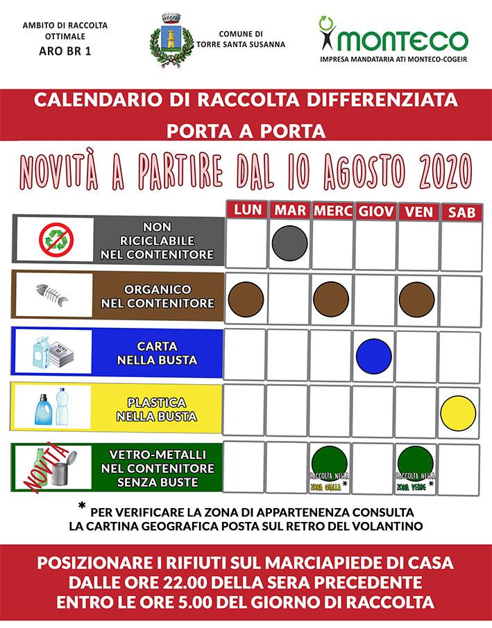 Torre Santa Susanna: dal 10 agosto 2020 cambia il giorno di raccolta di vetro-metalli