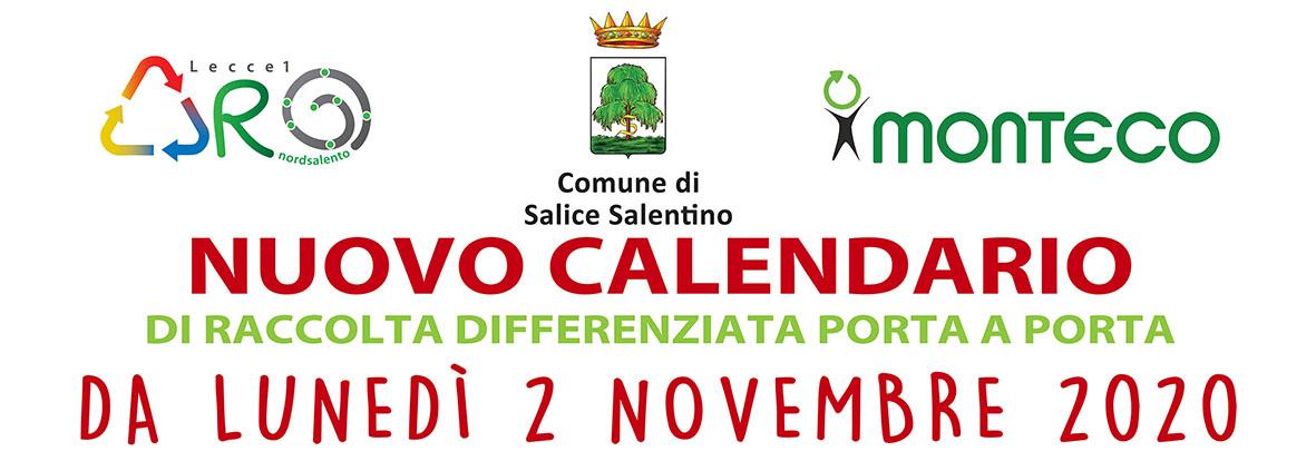 Salice Salentino: dal 2 novembre 2020 cambia il calendario di raccolta differenziata