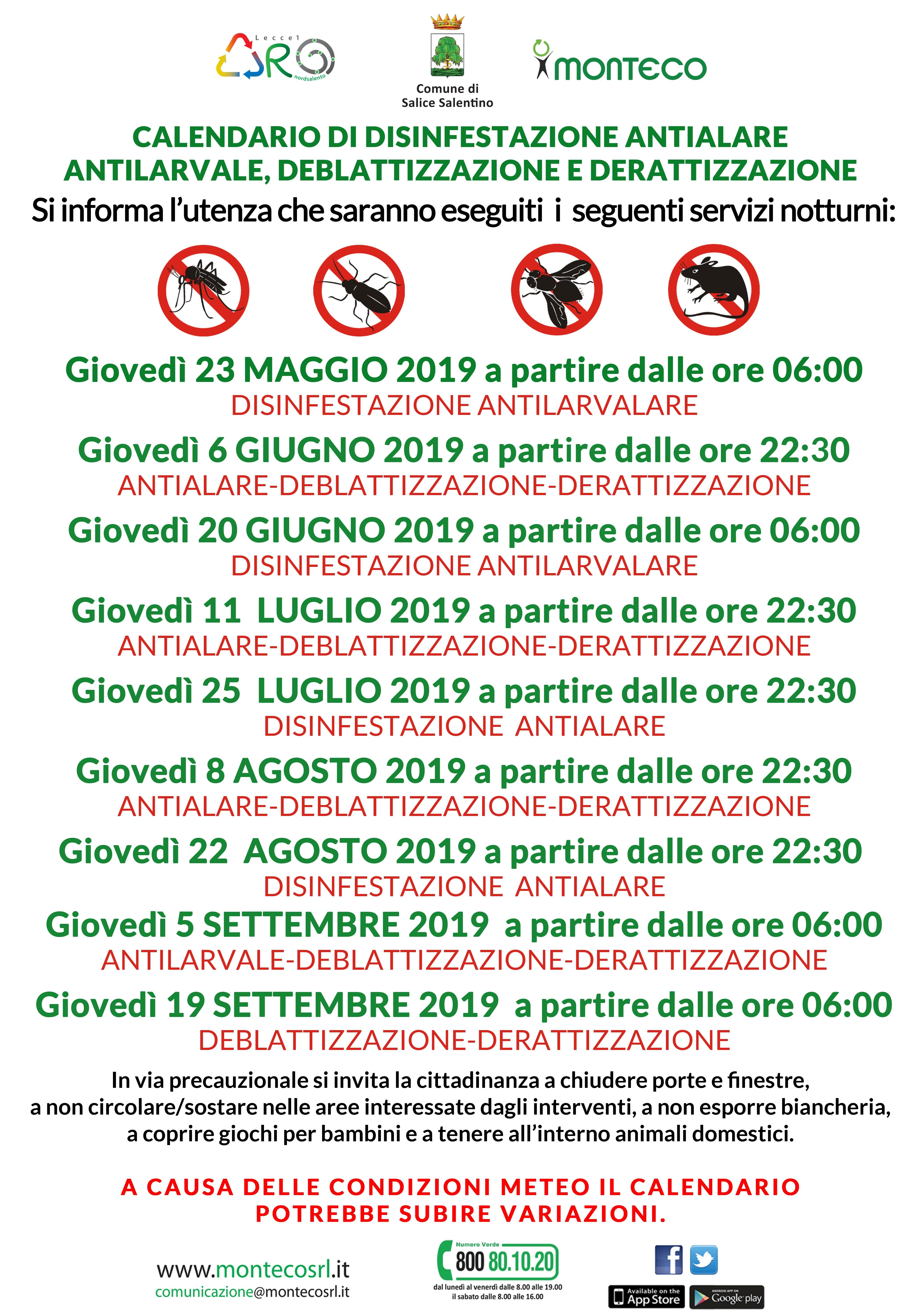 Salice Salentino - Calendario di disinfestazione antialare, deblattizzazione e derattizzazione