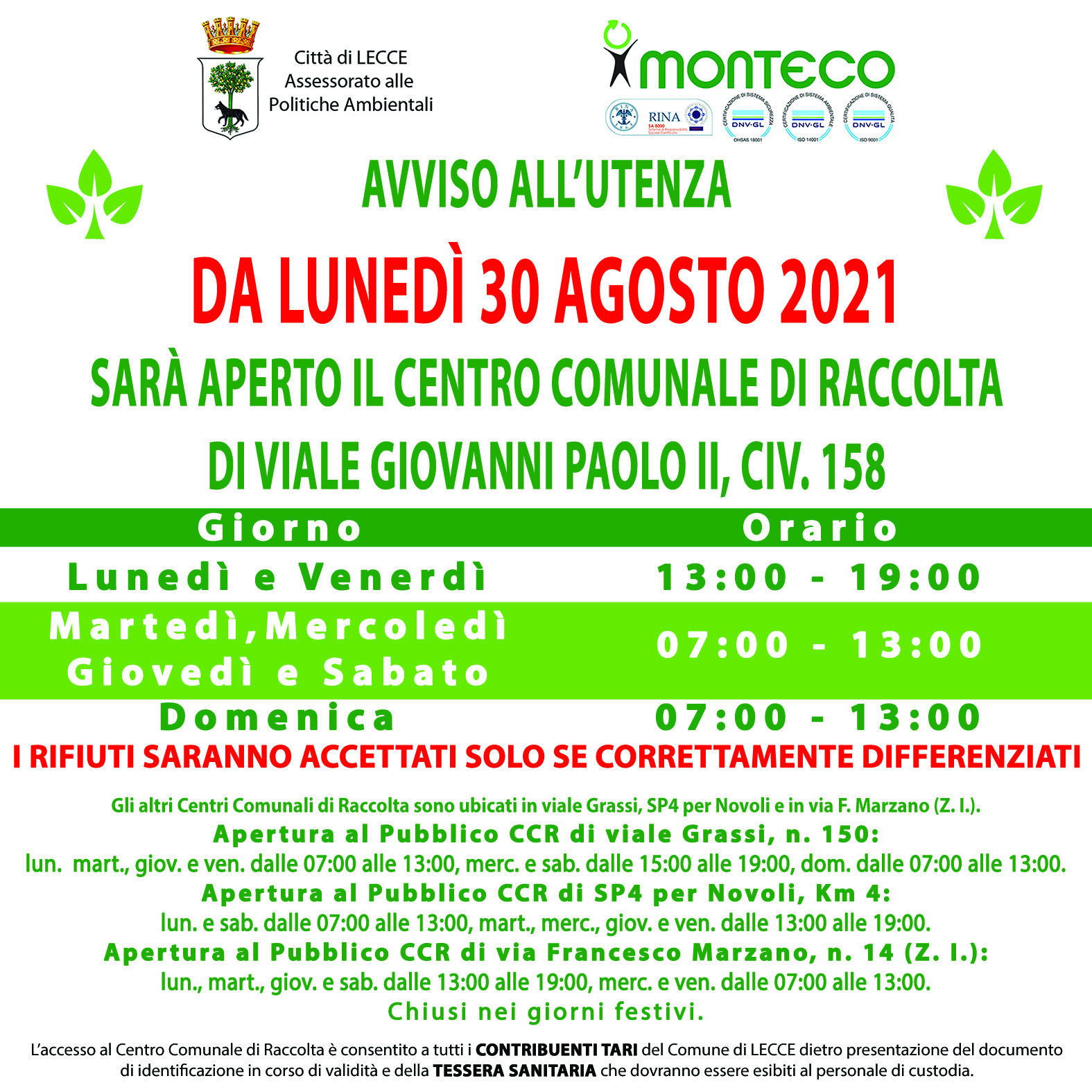 Lecce. Lunedì 30 agosto 2021 riapre il CCR di viale Giovanni Paolo II