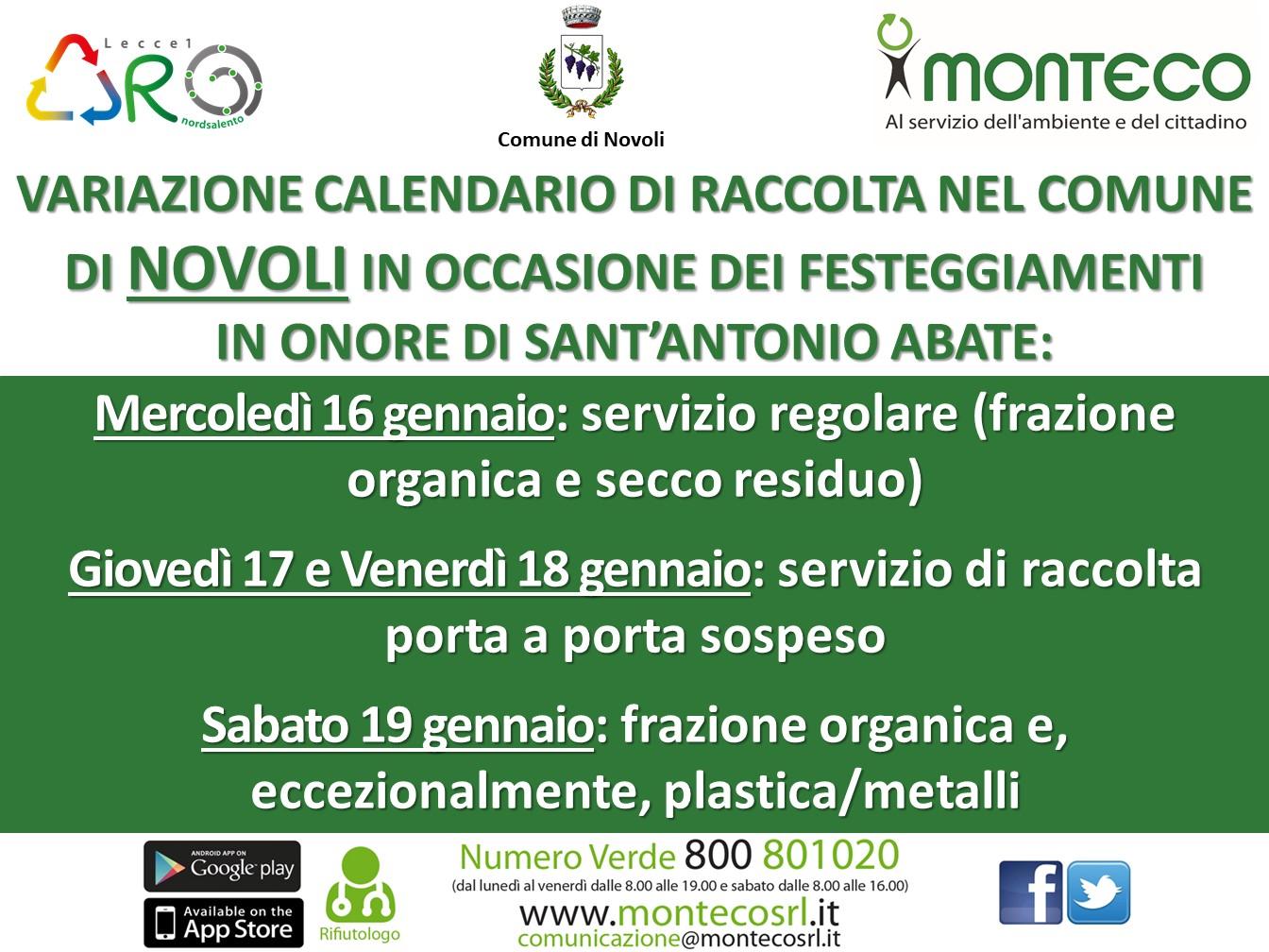 Novoli: variazione calendario di raccolta in occasione dei festeggiamenti in onore di Sant'Antonio Abate