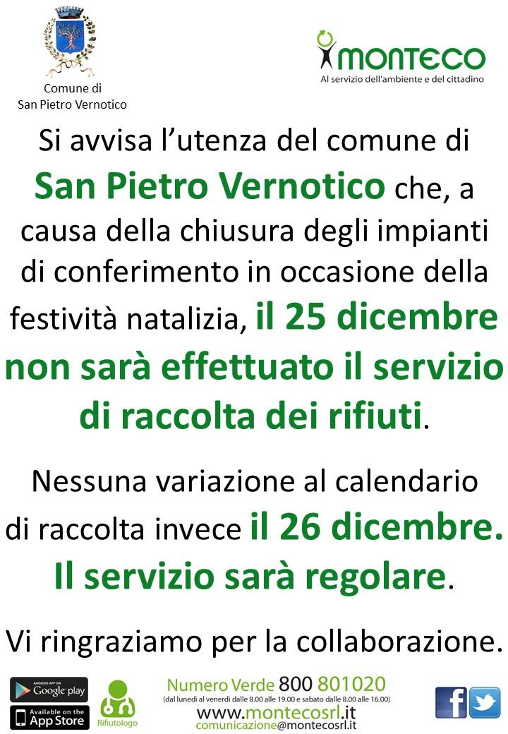 San Pietro Vernotico - Variazione calendario di raccolta