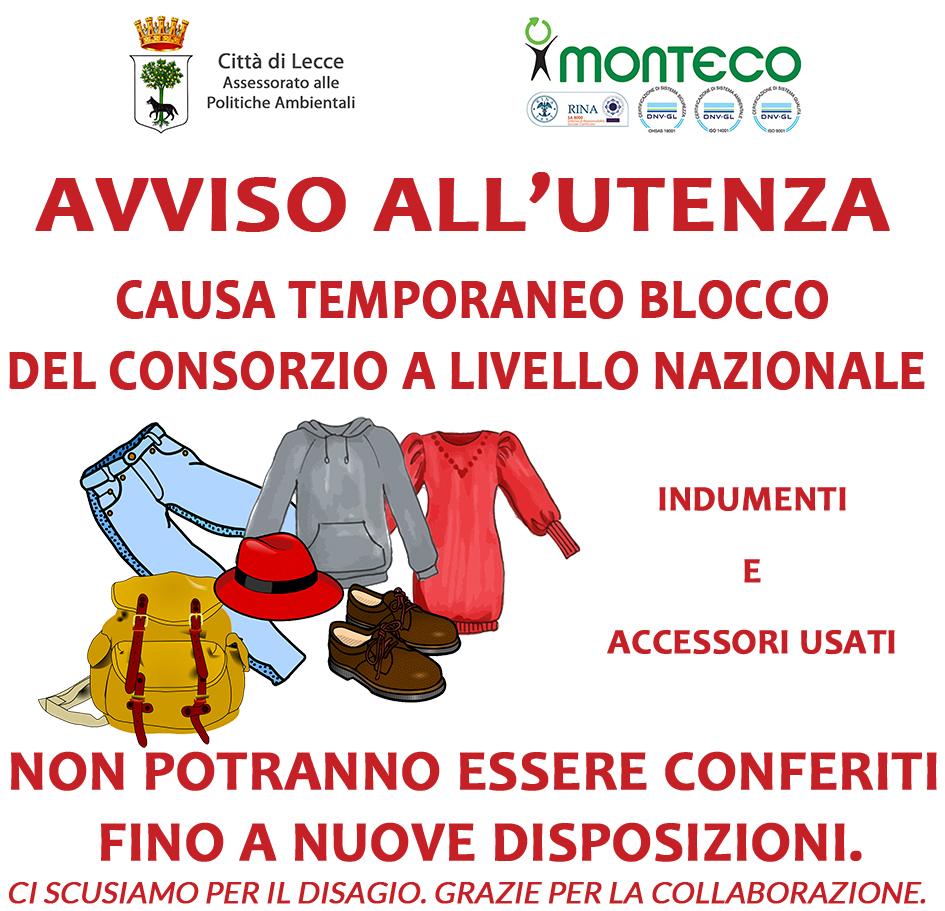Lecce. Blocco temporaneo Consorzio Nazionale Indumenti e Accessori usati