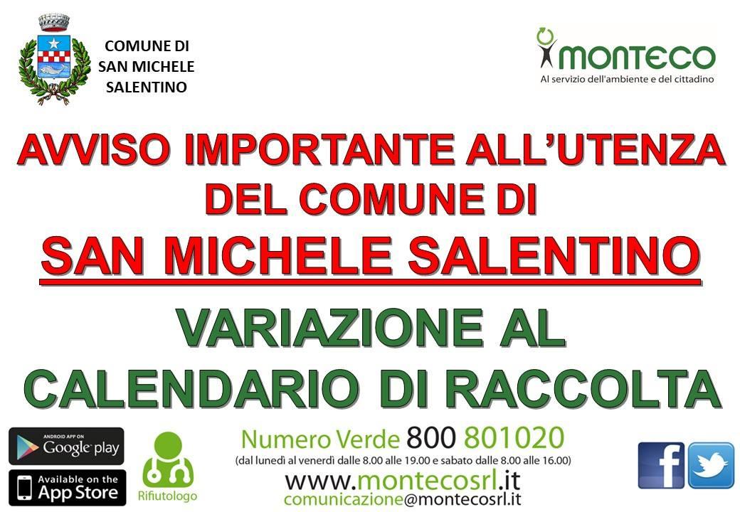 San Michele Salentino - variazione calendario di raccolta